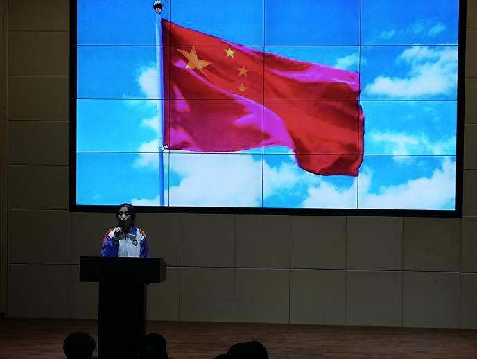 """邻水二中举行""""我与祖国共奋进---国旗下的演讲"""" 主题团日活动"""