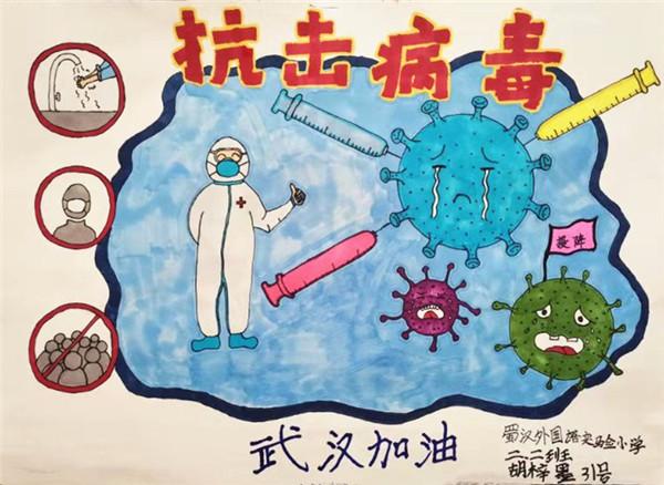 《抗击病毒》蜀汉外国语实验小学二年级二班—胡梓墨  勤洗手、戴口罩、不去人群密集的地方,做好自我防护,抗击病毒,我们一定可以.jpg