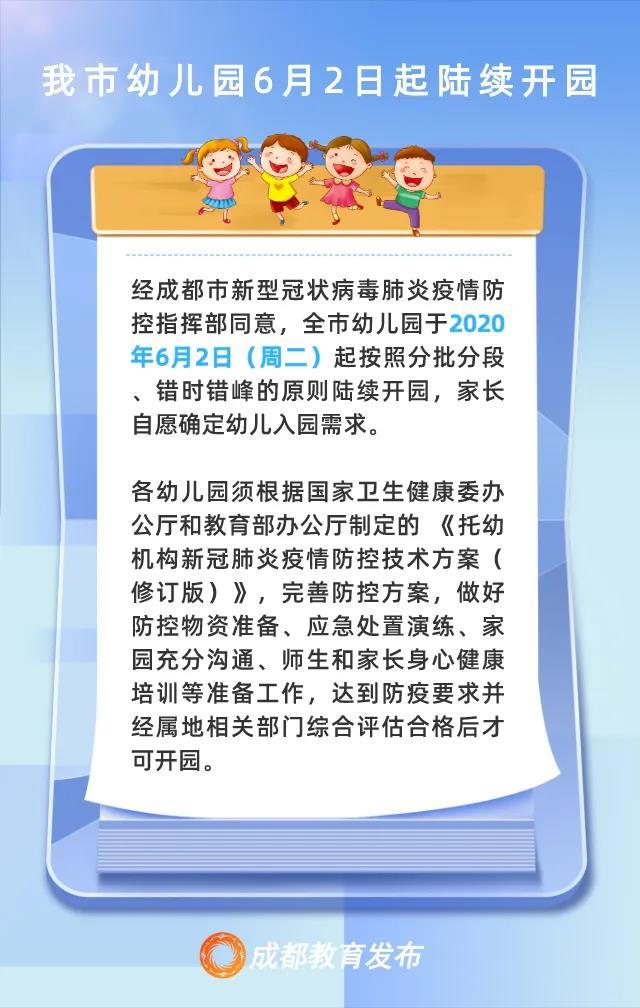 成都市幼儿园6月2日起陆续开园 !